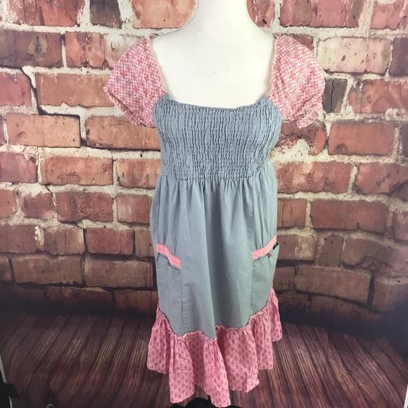 Cream Dresses & Skirts - Cotton Smocked Peasant Gypsy Boho Dress